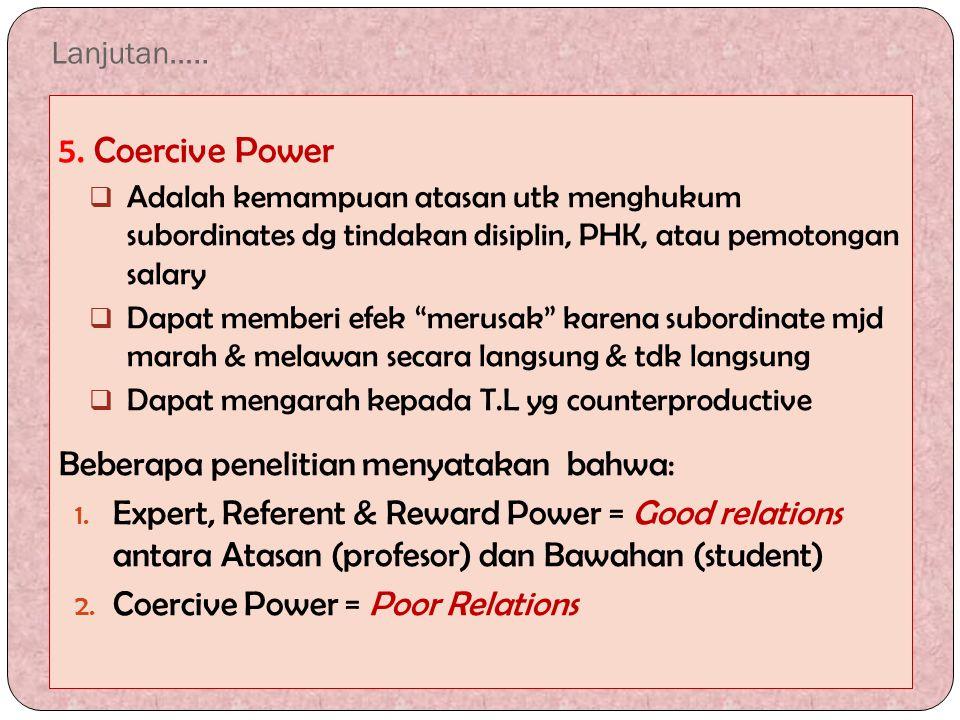 5. Coercive Power Beberapa penelitian menyatakan bahwa: