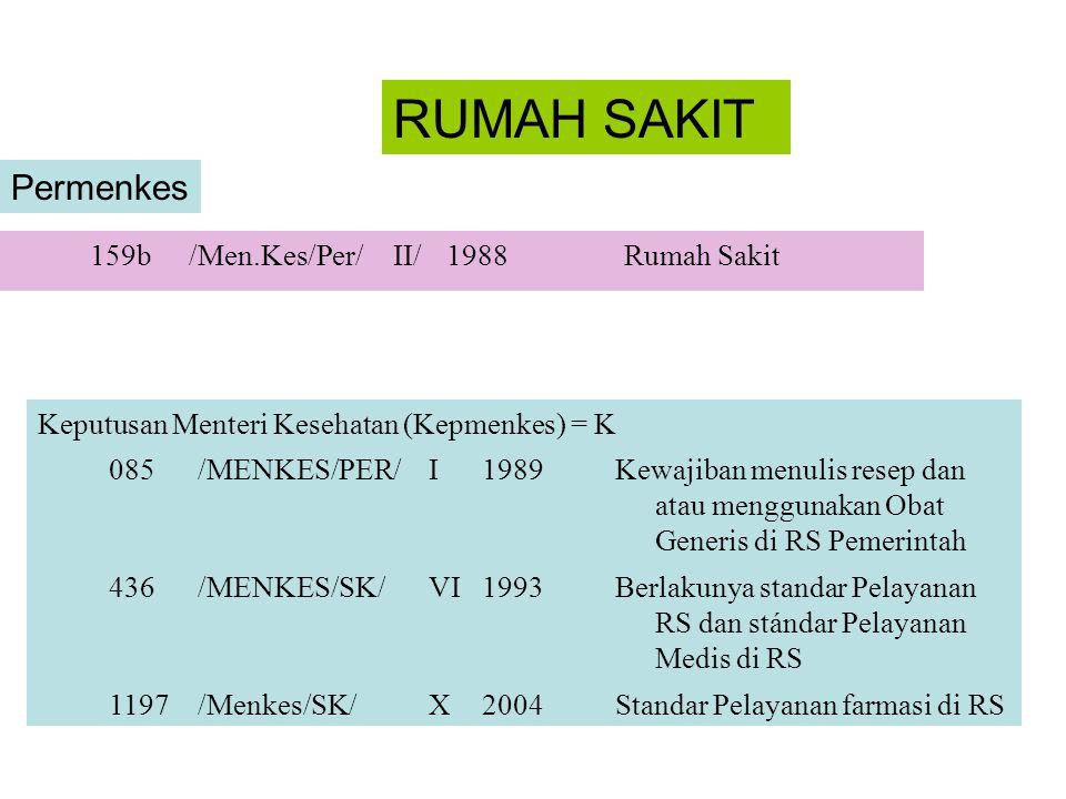 RUMAH SAKIT Permenkes 159b /Men.Kes/Per/ II/ 1988 Rumah Sakit