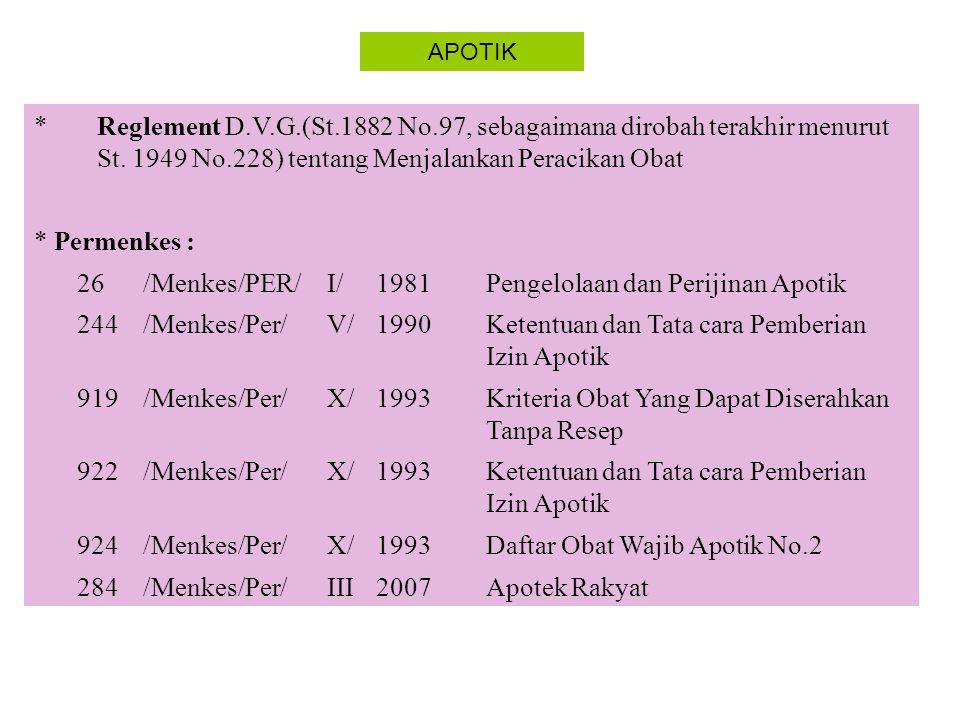 Pengelolaan dan Perijinan Apotik 244 /Menkes/Per/ V/ 1990