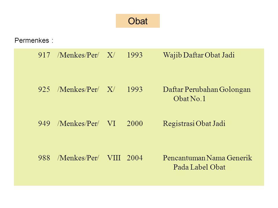 Obat 917 /Menkes/Per/ X/ 1993 Wajib Daftar Obat Jadi 925