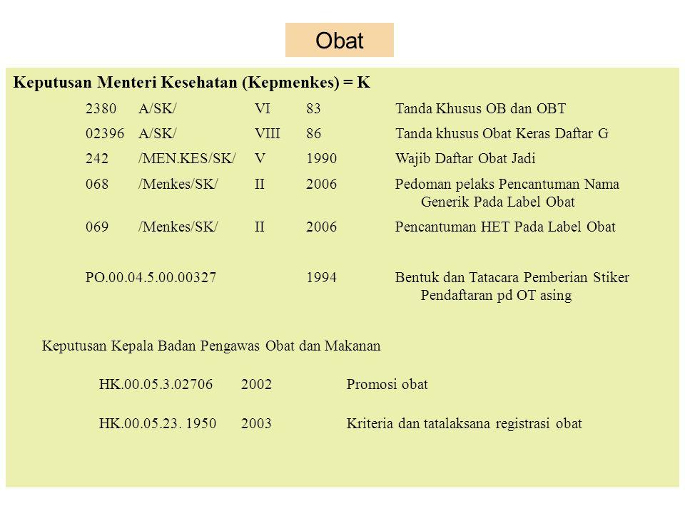 Obat Keputusan Menteri Kesehatan (Kepmenkes) = K 2380 A/SK/ VI 83