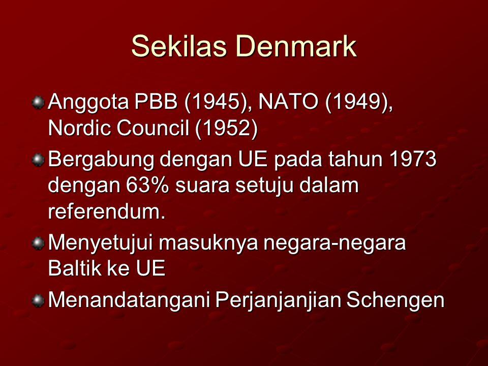 Sekilas Denmark Anggota PBB (1945), NATO (1949), Nordic Council (1952)