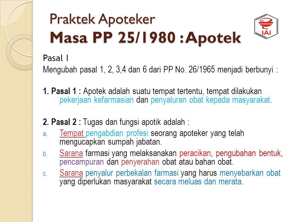 Praktek Apoteker Masa PP 25/1980 : Apotek