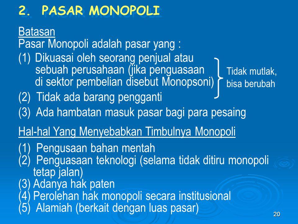Pasar Monopoli adalah pasar yang : Dikuasai oleh seorang penjual atau