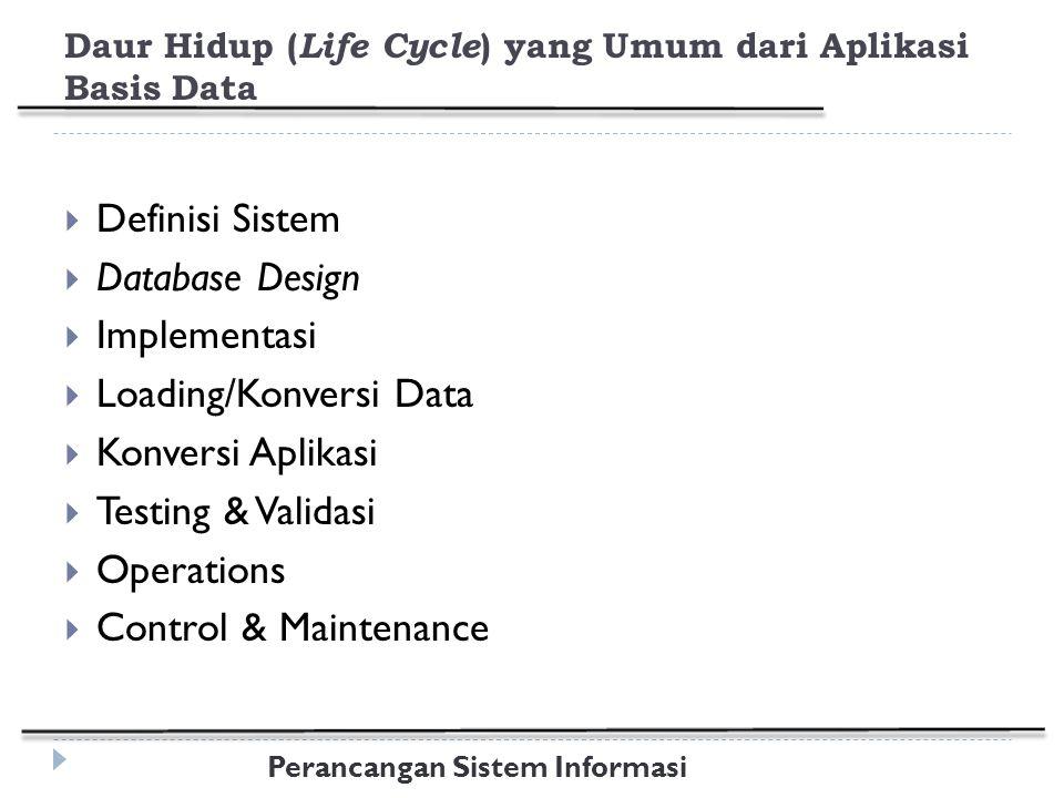Daur Hidup (Life Cycle) yang Umum dari Aplikasi Basis Data