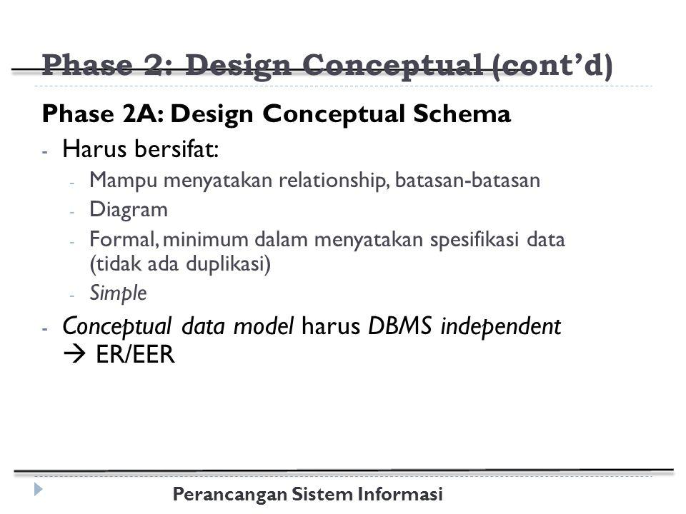 Phase 2: Design Conceptual (cont'd)
