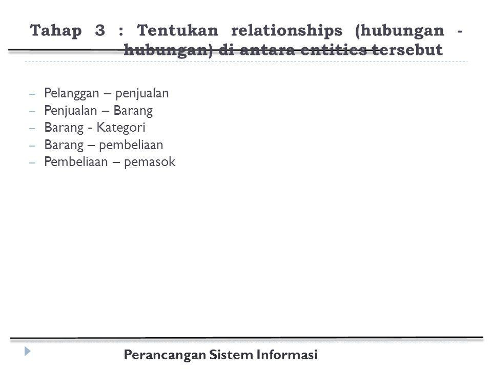 Tahap 3 : Tentukan relationships (hubungan -