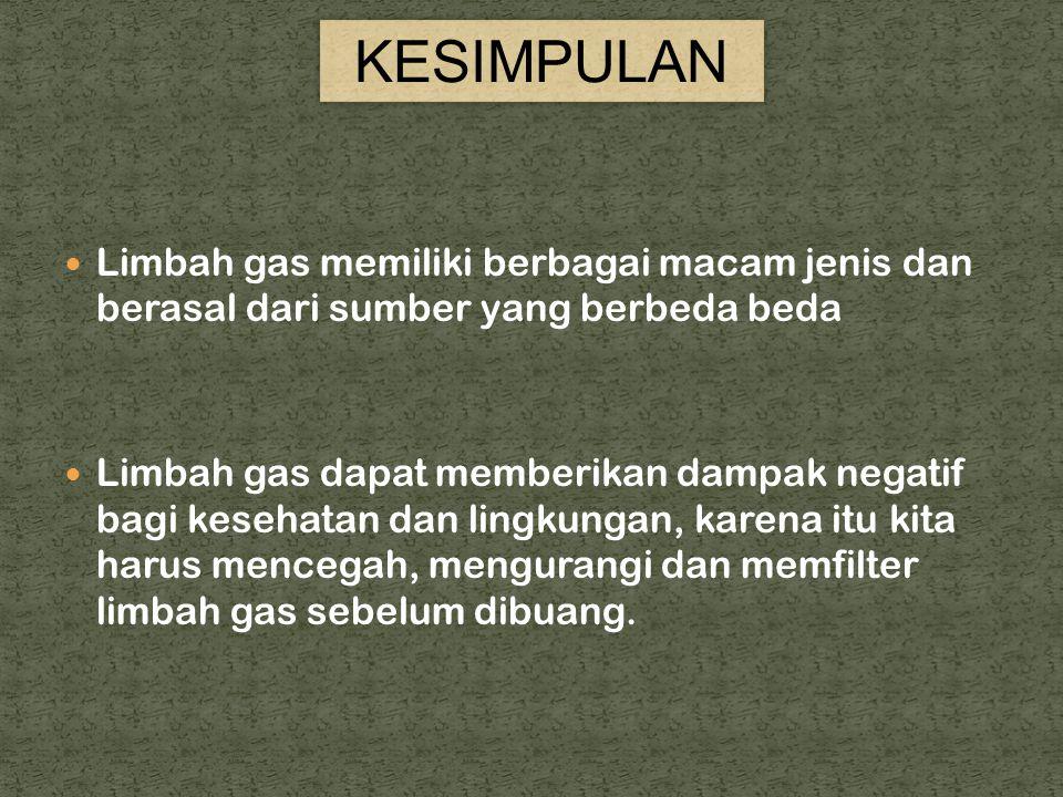 KESIMPULAN Limbah gas memiliki berbagai macam jenis dan berasal dari sumber yang berbeda beda.