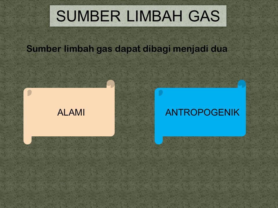 SUMBER LIMBAH GAS Sumber limbah gas dapat dibagi menjadi dua ALAMI