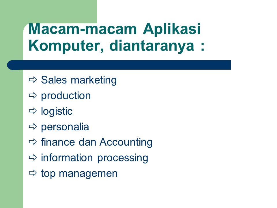Macam-macam Aplikasi Komputer, diantaranya :