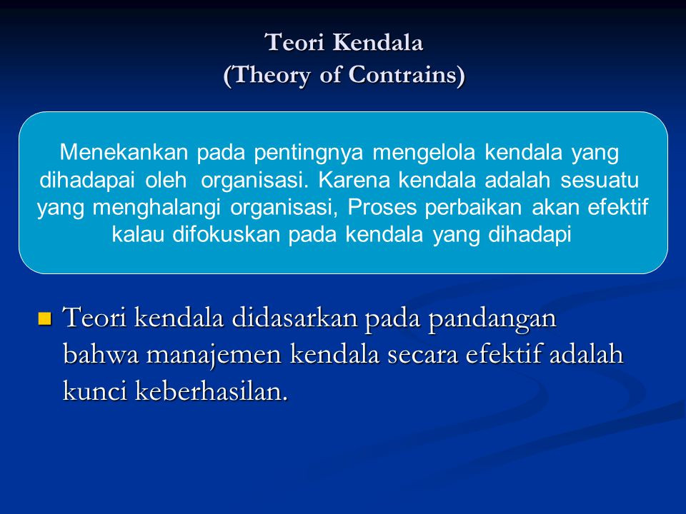 Teori Kendala (Theory of Contrains)
