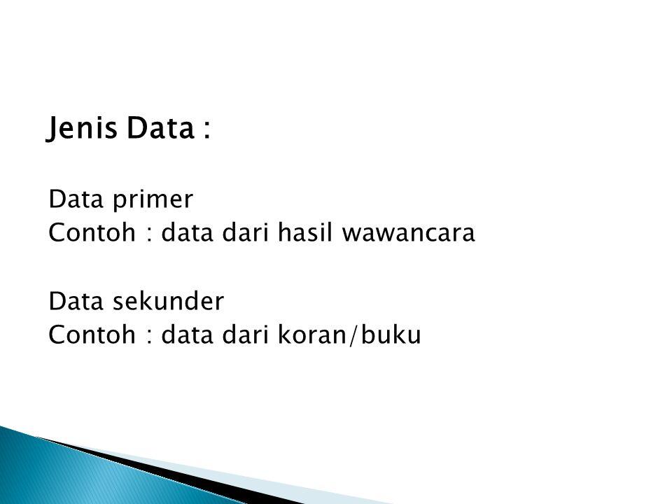 Jenis Data : Data primer Contoh : data dari hasil wawancara