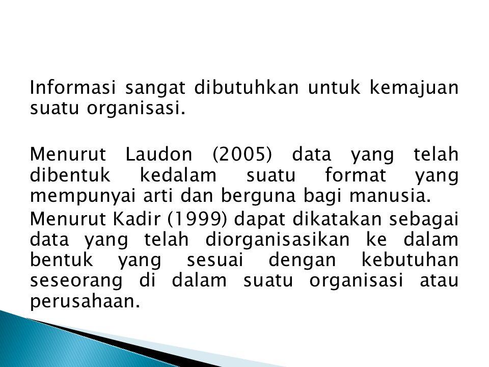 Informasi sangat dibutuhkan untuk kemajuan suatu organisasi.
