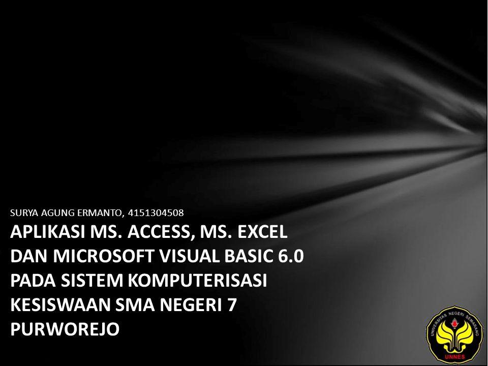 SURYA AGUNG ERMANTO, 4151304508 APLIKASI MS. ACCESS, MS