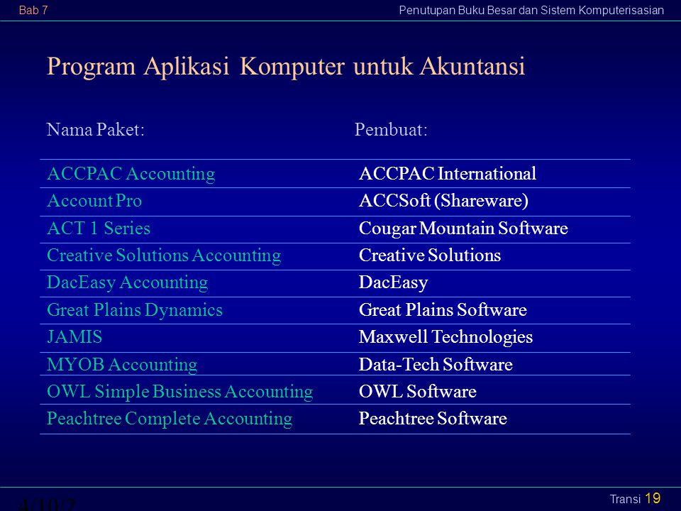 Program Aplikasi Komputer untuk Akuntansi