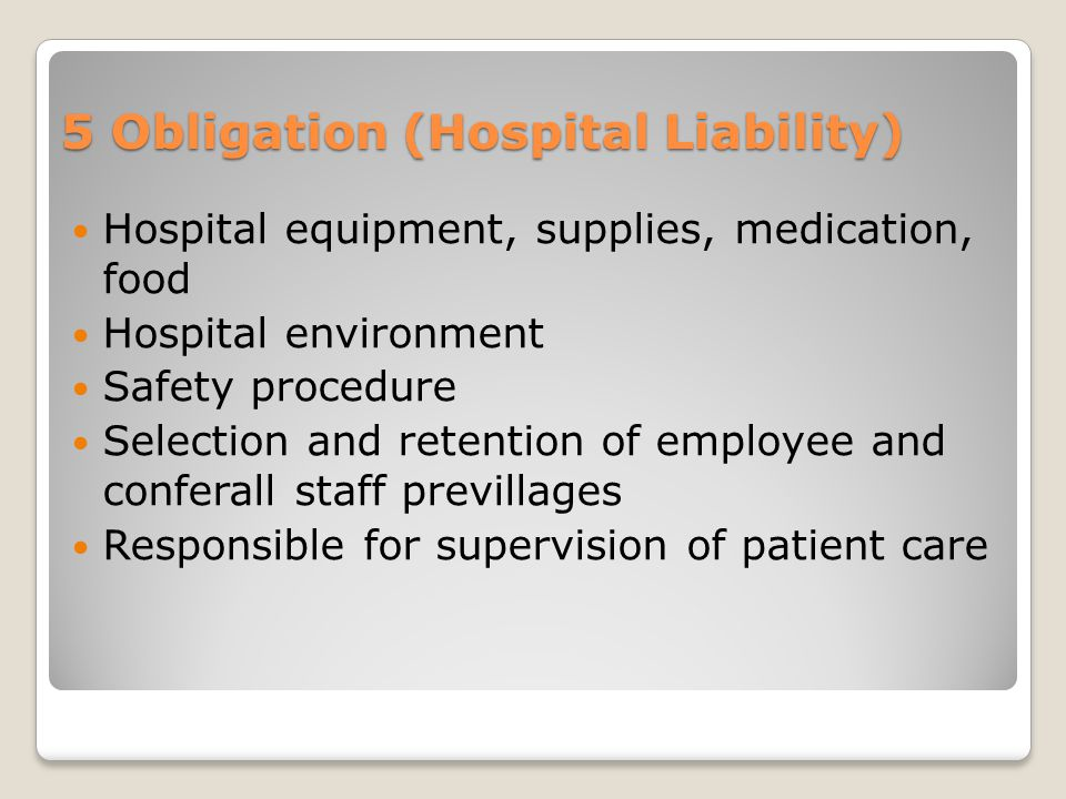 5 Obligation (Hospital Liability)