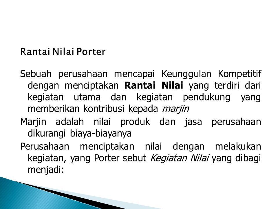 Rantai Nilai Porter Sebuah perusahaan mencapai Keunggulan Kompetitif dengan menciptakan Rantai Nilai yang terdiri dari kegiatan utama dan kegiatan pendukung yang memberikan kontribusi kepada marjin Marjin adalah nilai produk dan jasa perusahaan dikurangi biaya-biayanya Perusahaan menciptakan nilai dengan melakukan kegiatan, yang Porter sebut Kegiatan Nilai yang dibagi menjadi: