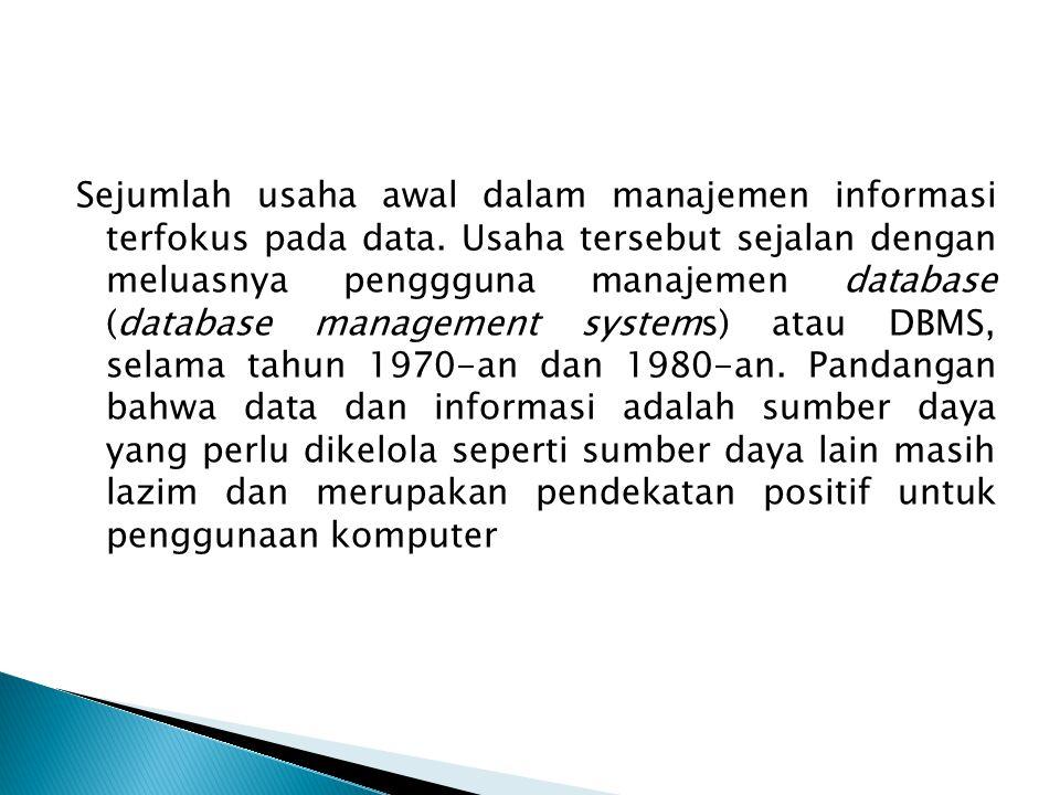 Sejumlah usaha awal dalam manajemen informasi terfokus pada data