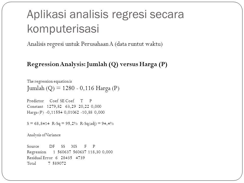 Aplikasi analisis regresi secara komputerisasi