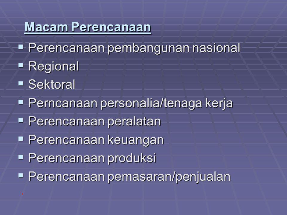 Macam Perencanaan Perencanaan pembangunan nasional. Regional. Sektoral. Perncanaan personalia/tenaga kerja.