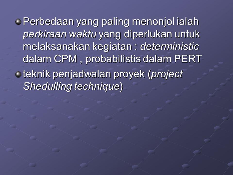 Perbedaan yang paling menonjol ialah perkiraan waktu yang diperlukan untuk melaksanakan kegiatan : deterministic dalam CPM , probabilistis dalam PERT