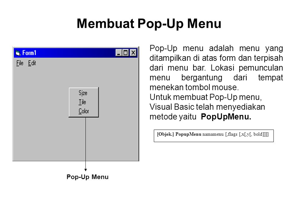 Membuat Pop-Up Menu