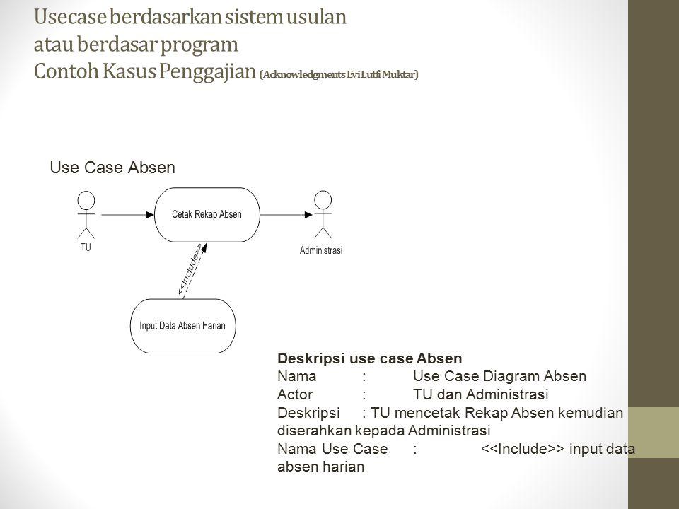 Usecase berdasarkan sistem usulan atau berdasar program Contoh Kasus Penggajian (Acknowledgments Evi Lutfi Muktar)