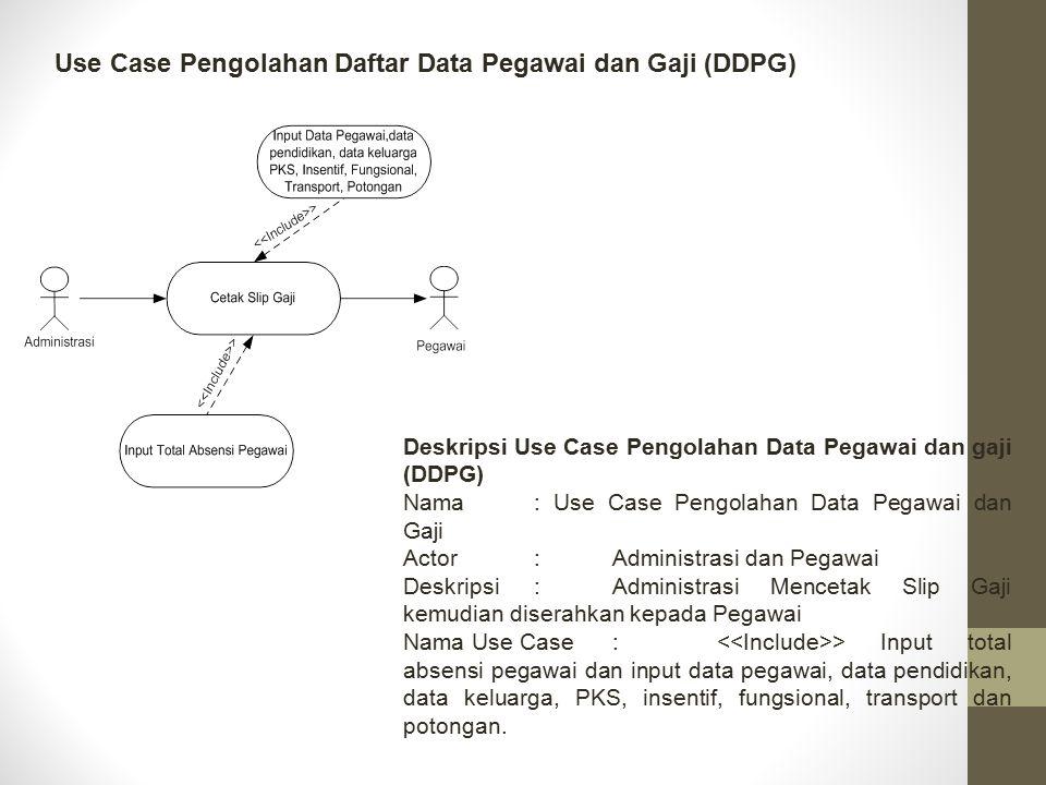 Use Case Pengolahan Daftar Data Pegawai dan Gaji (DDPG)