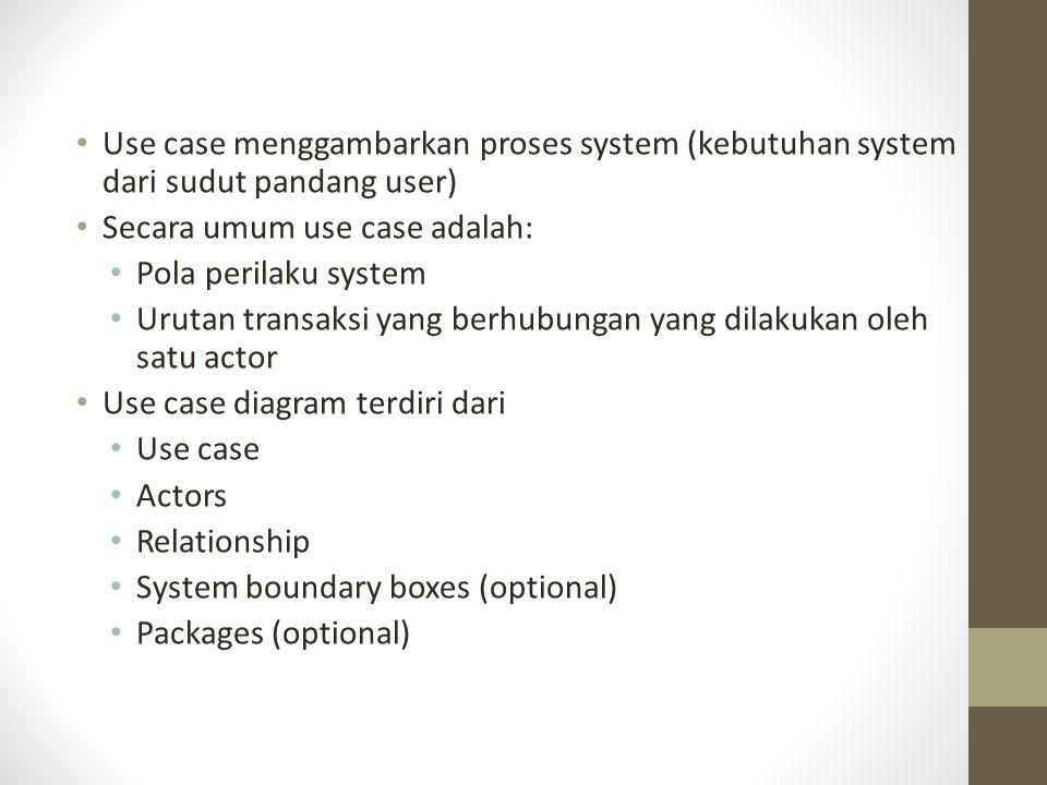 Use case menggambarkan proses system (kebutuhan system dari sudut pandang user)