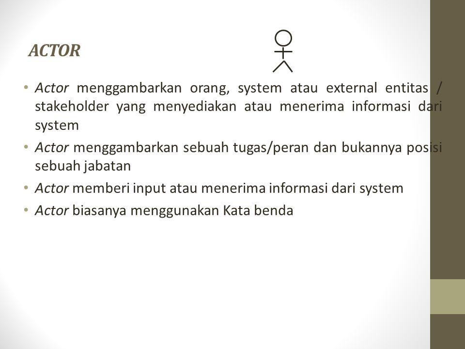 ACTOR Actor menggambarkan orang, system atau external entitas / stakeholder yang menyediakan atau menerima informasi dari system.