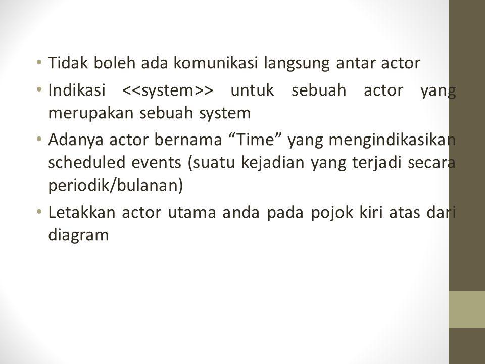 Tidak boleh ada komunikasi langsung antar actor