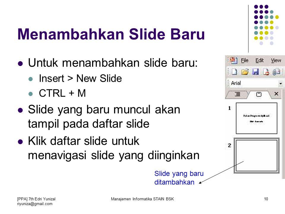 Menambahkan Slide Baru