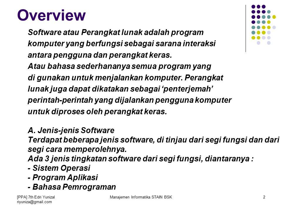 Manajemen Informatika STAIN BSK