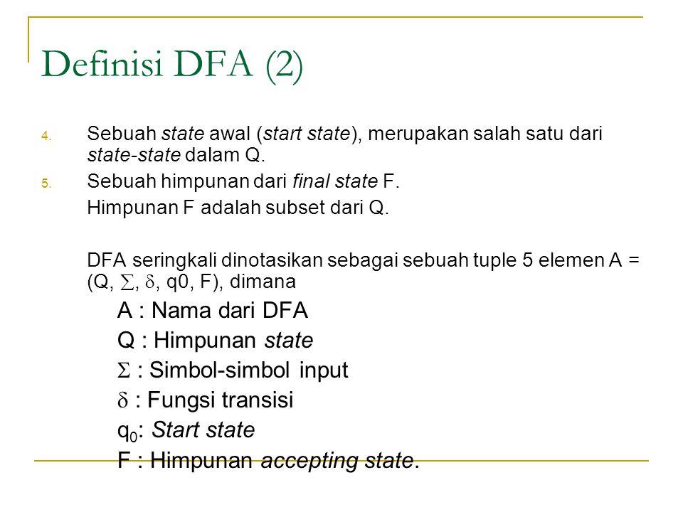 Definisi DFA (2) A : Nama dari DFA Q : Himpunan state