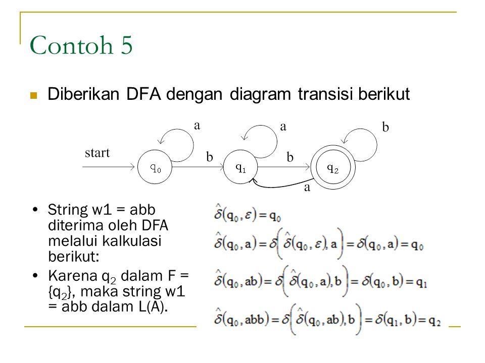 Contoh 5 Diberikan DFA dengan diagram transisi berikut
