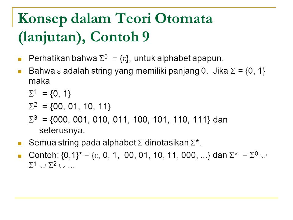 Konsep dalam Teori Otomata (lanjutan), Contoh 9