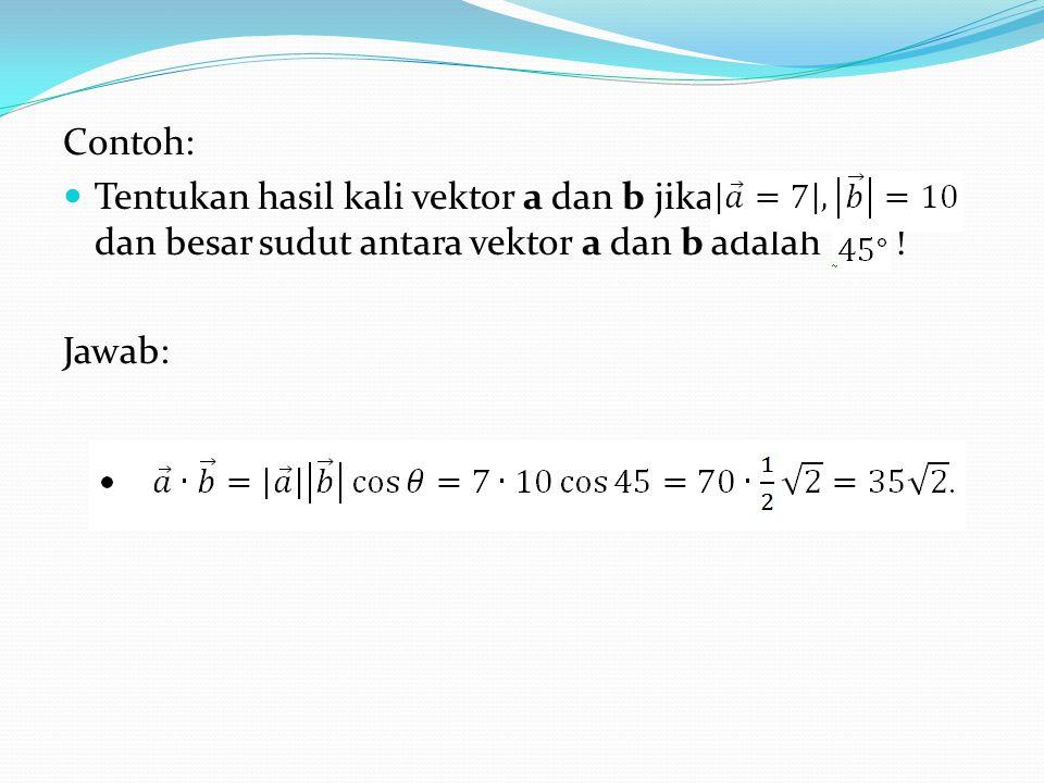 Contoh: Tentukan hasil kali vektor a dan b jika dan besar sudut antara vektor a dan b adalah !