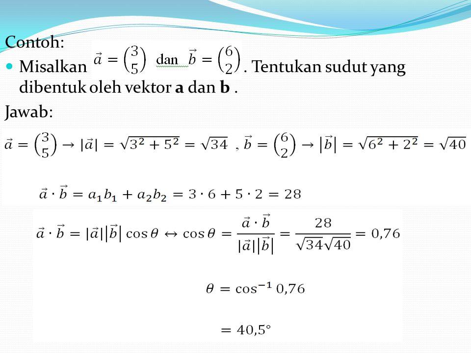 Contoh: Misalkan . Tentukan sudut yang dibentuk oleh vektor a dan b .
