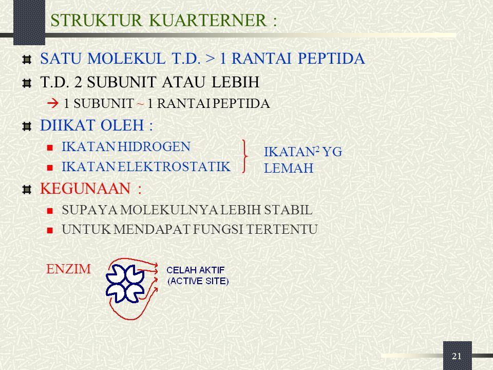 STRUKTUR KUARTERNER : SATU MOLEKUL T.D. > 1 RANTAI PEPTIDA