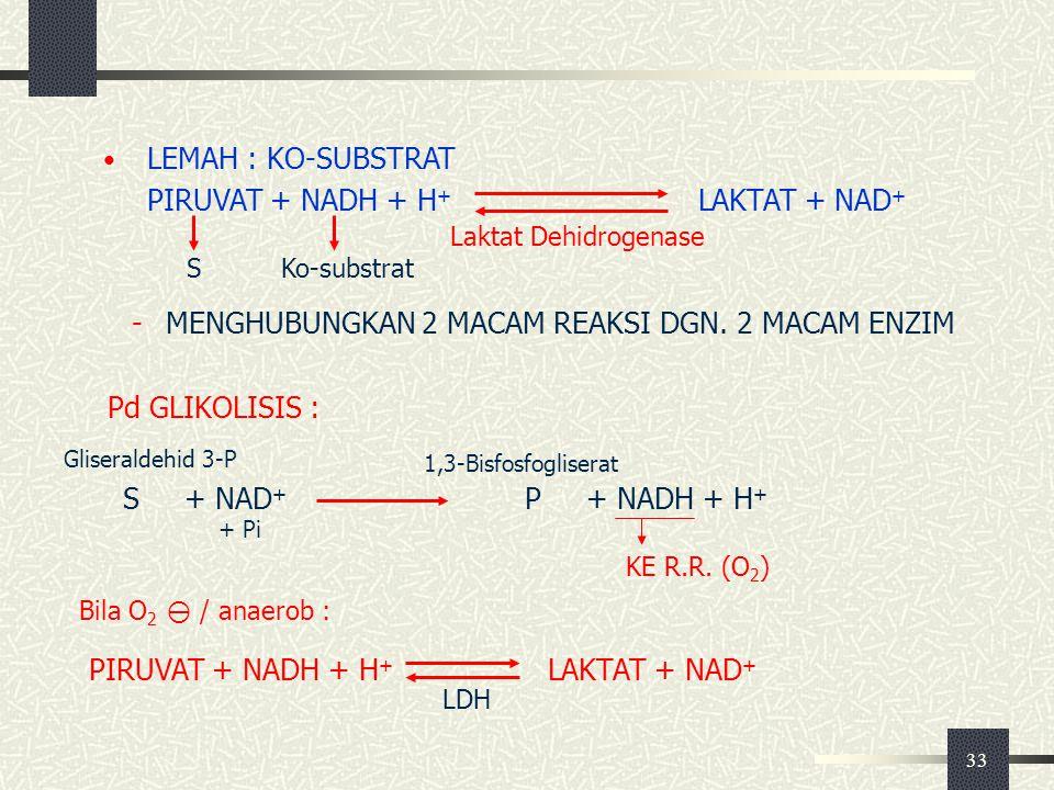 PIRUVAT + NADH + H+ LAKTAT + NAD+