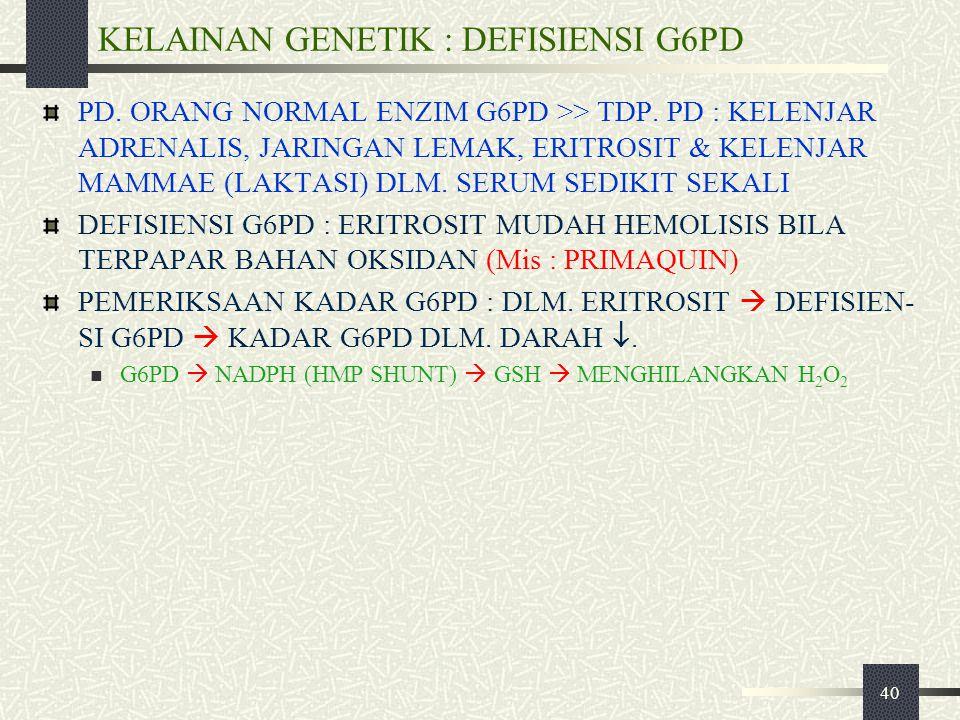 KELAINAN GENETIK : DEFISIENSI G6PD