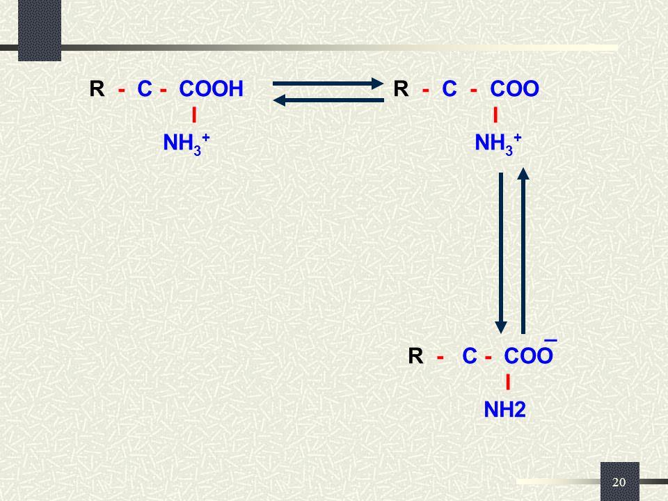 _ R - C - COOH R - C - COO I I NH3+ NH3+ _ R - C - COO I NH2