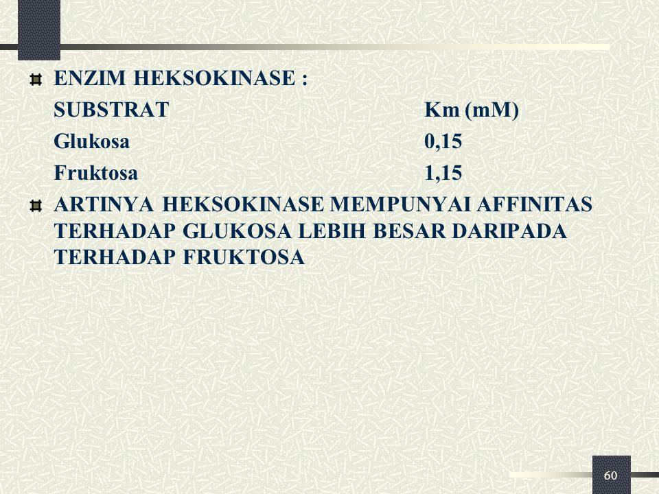 ENZIM HEKSOKINASE : SUBSTRAT Km (mM) Glukosa 0,15. Fruktosa 1,15.