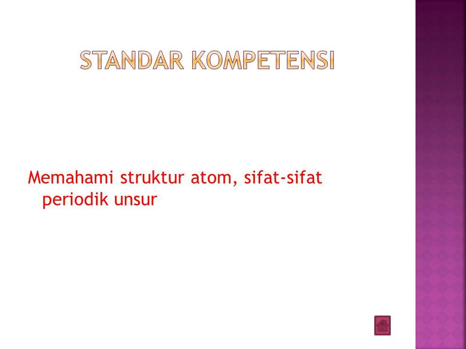 Standar kompetensi Memahami struktur atom, sifat-sifat periodik unsur