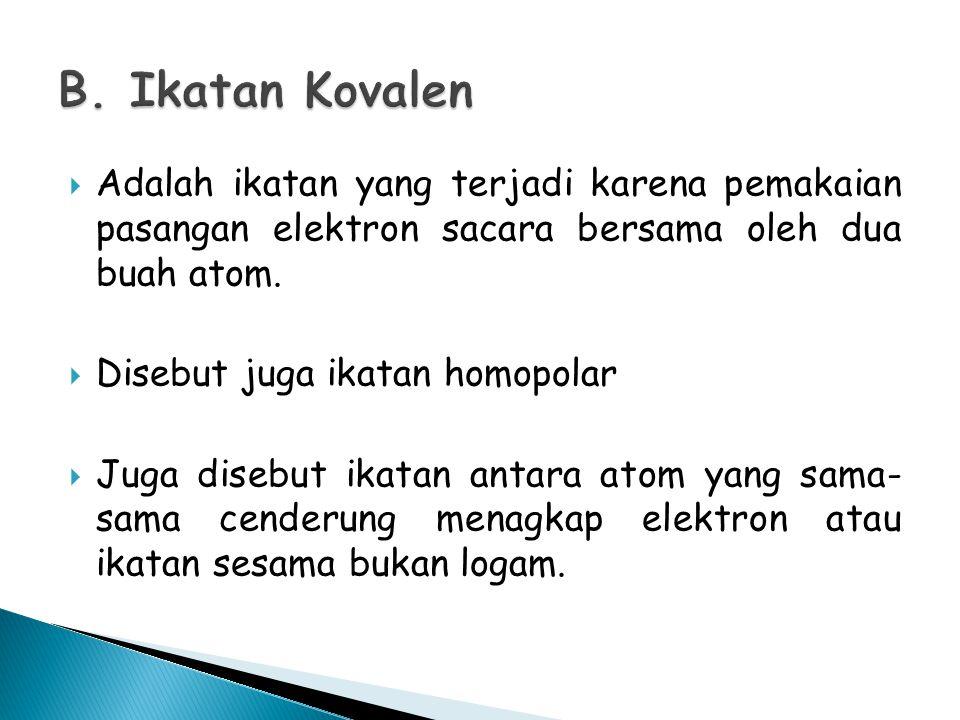 B. Ikatan Kovalen Adalah ikatan yang terjadi karena pemakaian pasangan elektron sacara bersama oleh dua buah atom.