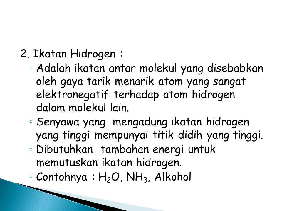2. Ikatan Hidrogen :