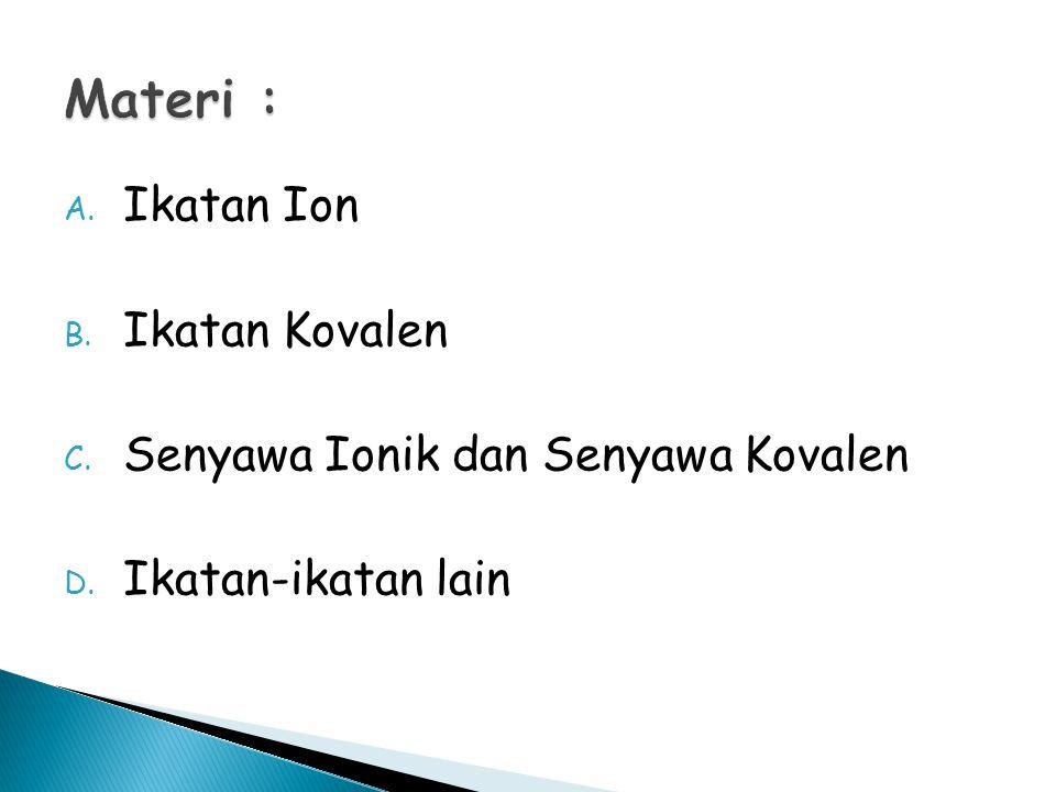 Materi : Ikatan Ion Ikatan Kovalen Senyawa Ionik dan Senyawa Kovalen
