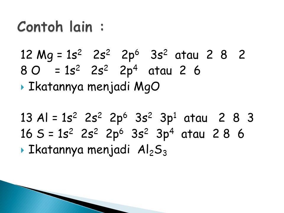 Contoh lain : 12 Mg = 1s2 2s2 2p6 3s2 atau 2 8 2