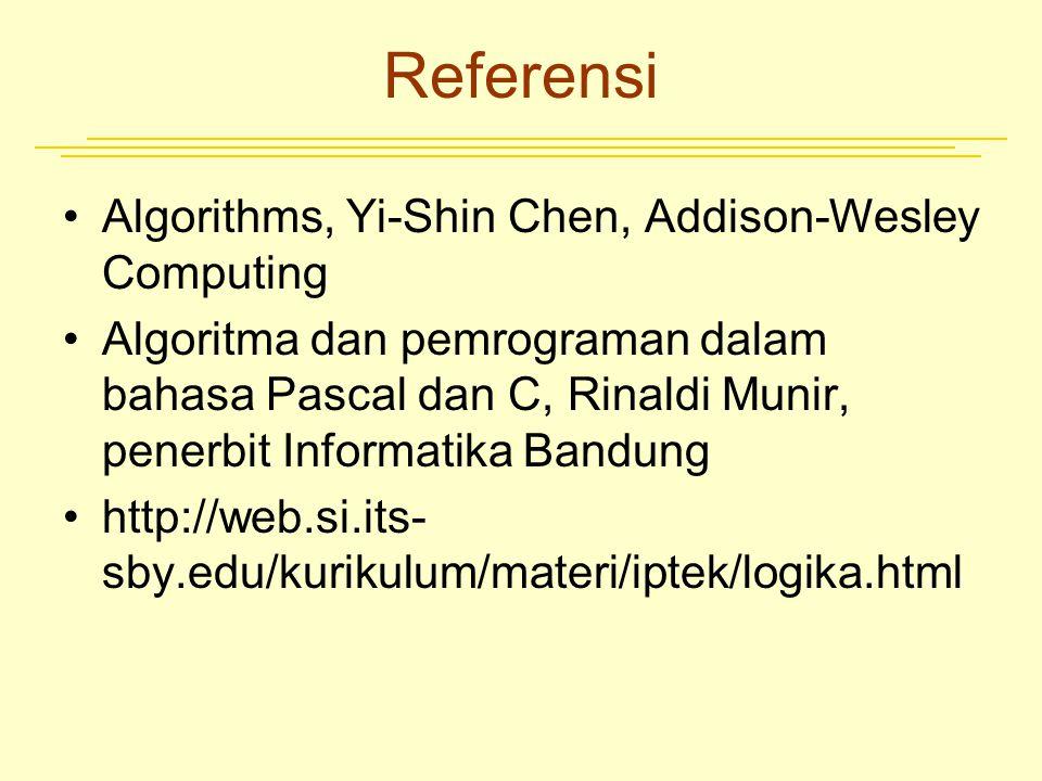 Referensi Algorithms, Yi-Shin Chen, Addison-Wesley Computing