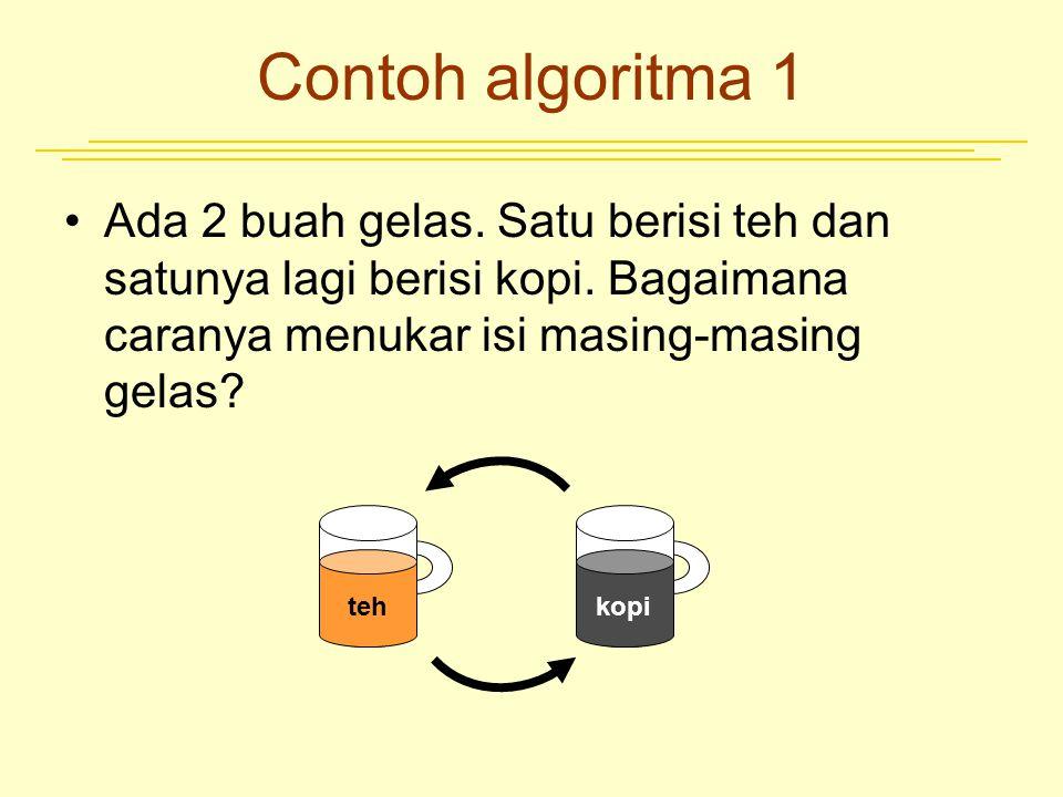 Contoh algoritma 1 Ada 2 buah gelas. Satu berisi teh dan satunya lagi berisi kopi. Bagaimana caranya menukar isi masing-masing gelas